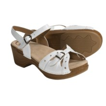 Dansko Sissy Sandals - Leather (For Women) in White Crinkle Patent - Closeouts