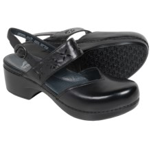 Dansko Trista Closed-Back Clogs - Leather (For Women) in Black Full Grain - Closeouts