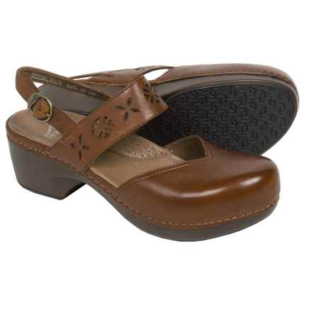 Dansko Trista Closed-Back Clogs - Leather (For Women) in Cognac Full Grain - Closeouts