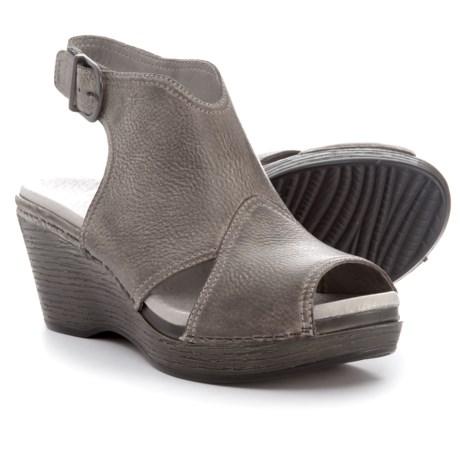 Dansko Vanda Wedge Sandals - Leather (For Women) in Stone