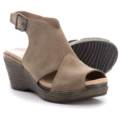 Dansko Vanda Wedge Sandals - Leather (For Women) in Taupe