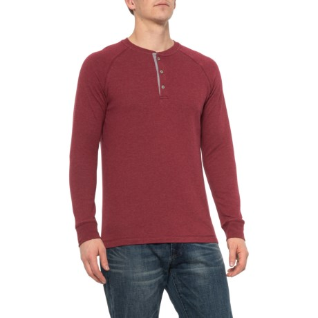 Dark Red Heather Raglan Henley Shirt - Long Sleeve (For Men) - DARK RED HEATHER (XL )