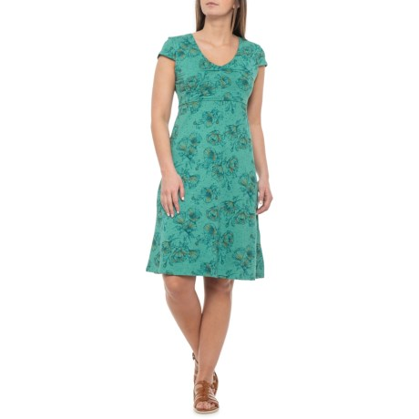 Image of Dark Turquoise Poppy Print Rosemarie Dress - Short Sleeve (For Women)