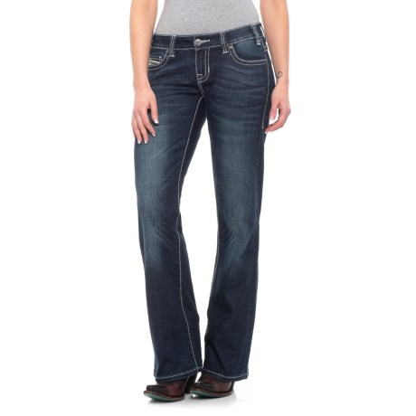 Image of Dark Vintage Wash CoolMax(R) Multi-Thread Jeans - Low Rise, Bootcut (For Women)