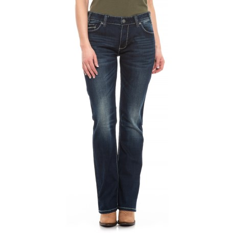 Image of Dark Vintage Wash Ivory Abstract Jeans - Boyfriend Fit, Straight Leg (For Women)