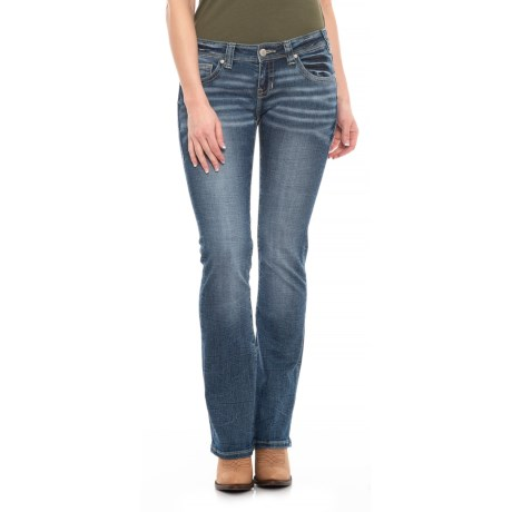 Image of Dark Vintage Wash Jeans - Low-Rise (For Women)