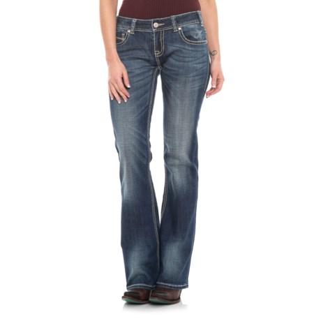 Image of Dark Vintage Wash Original Jeans - Low Rise, Multi-Color Thread (For Women)