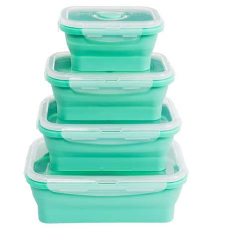 Dash Collapsible Silicone Food-Storage Container Set - 4-Piece