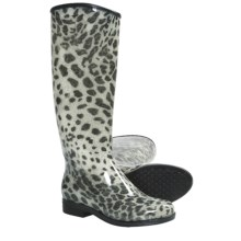Dav English Snow Leopard Rain Boots - Waterproof (For Women) in Black - Closeouts