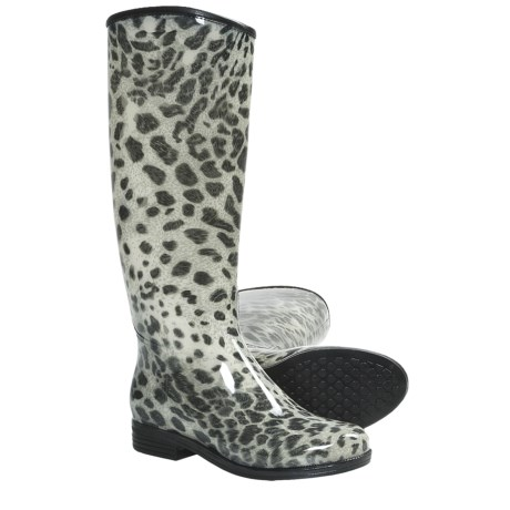 Dav English Snow Leopard Rain Boots - Waterproof (For Women) in Black