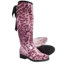 Dav Victoria Leopard Rain Boots - Waterproof (For Women) in Pink - Closeouts