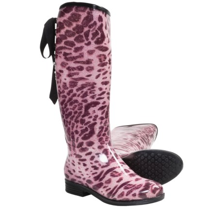 Dav Victoria Leopard Rain Boots - Waterproof (For Women) in Pink