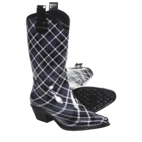 Dav Western Cowboy Plaid Rain Boots - Waterproof (For Women) in Slate