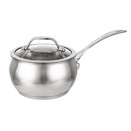 David Burke Gourmet Gourmet Pro Long-Handled Saucepan with Lid - 2 qt., Stainless Steel in Polished Stainless Steel