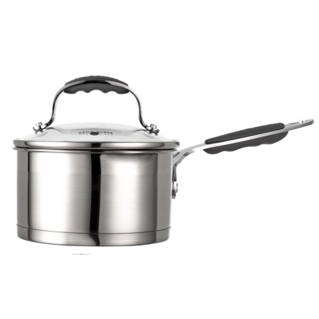 David Burke Gourmet Gourmet Pro Long-Handled Saucepan with Straining Lid - 1.75 qt., Stainless Steel in Brushed Stainless Steel