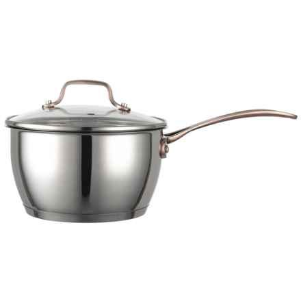 David Burke Gourmet Gourmet Pro Regency Saucepan with Glass Lid - 2.4 qt., Stainless Steel in Stainlees Steel/Copper Handle - Closeouts