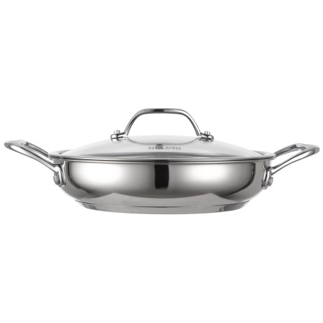 "David Burke Gourmet Splendor Series Everyday Pan with Glass Lid - 9.5"", Stainless Steel in Polished Stainless Steel"