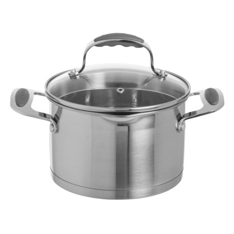 David Burke Gourmet Stature Series Everyday Pan with Glass Straining Lid - 3 qt., Stainless Steel in Brushed Stainless Steel