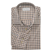 David Donahue Multi-Check Shirt - Spread Collar, Long Sleeve (For Men) in Chocolate Multi - Closeouts