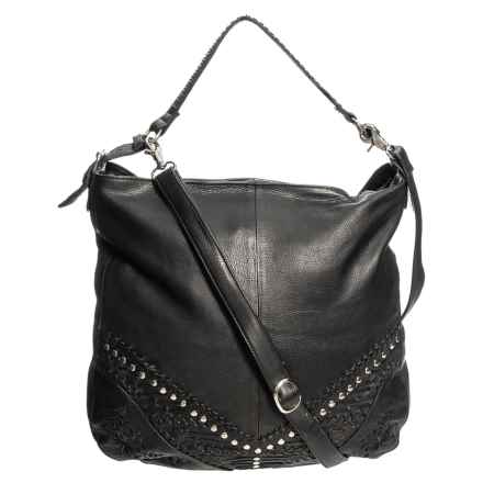 Day & Mood Oak Detail Hobo Bag - Leather (For Women) in Black