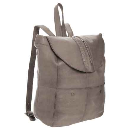 Day & Mood Top Flap Backpack - Leather (For Women) in Grey - Closeouts