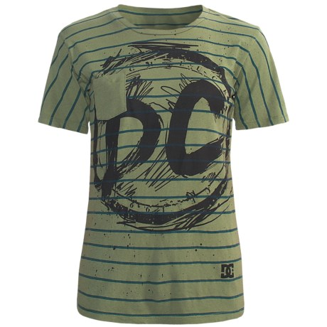 DC Shoes All Stripes Pocket T-Shirt - Cotton Jersey, Short Sleeve (For Women) in Olive
