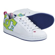 DC Shoes Court Graffik SE Skate Shoes (For Women) in White/Crazy Pink/Plaid - Closeouts