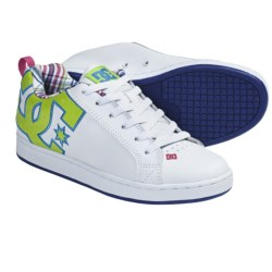 DC Shoes Court Graffik SE Skate Shoes (For Women) in White/Crazy Pink/Plaid