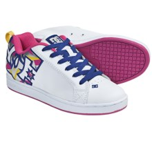 DC Shoes Court Graffik SE Skate Shoes (For Women) in White/Pink/Multi - Closeouts
