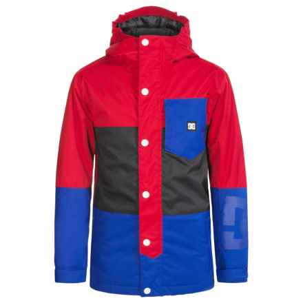 DC Shoes Defy Snowboard Jacket - Waterproof, Insulated (For Big Boys) in Tango Red - Closeouts