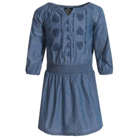 DC Shoes Lucky Brand Amanda Chambray Dress - 3/4 Sleeve (For Little Girls) in Suki Wash