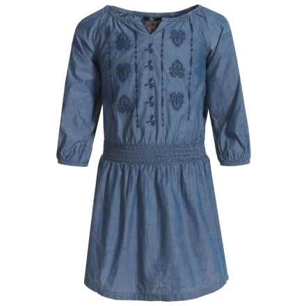 DC Shoes Lucky Brand Amanda Chambray Dress - 3/4 Sleeve (For Toddler Girls) in Suki Wash - Closeouts