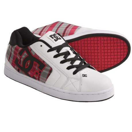 DC Shoes Net SE Skate Shoes (For Men) in White/Athletic Red/Plaid