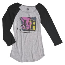 DC Shoes Smattering Baseball T-Shirt - Raglan Sleeve (For Women) in Heather Grey