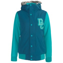 DC Shoes Squad Jacket - Insulated, Removable Faux-Fur Trim (For Women) in Seaport/Aegean