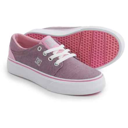 DC Shoes Trase TX SE Shoes (For Little and Big Girls) in Pink/White - Closeouts