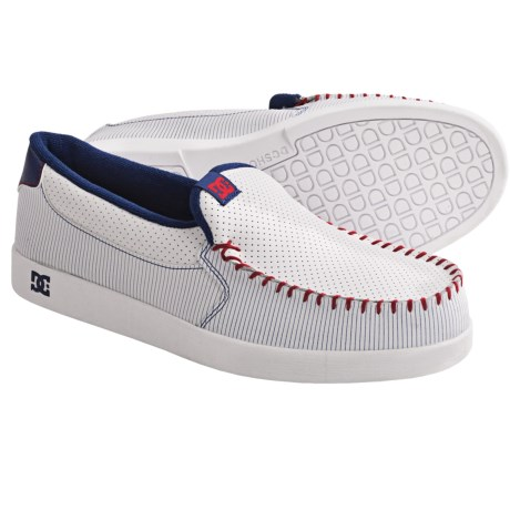 DC Shoes Villain Skate Shoes - Slip-Ons (For Men) in White/Dc Navy/True Red