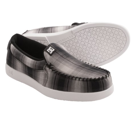 DC Shoes Villain TX Shoes - Slip-Ons (For Men) in Black/Plaid/White