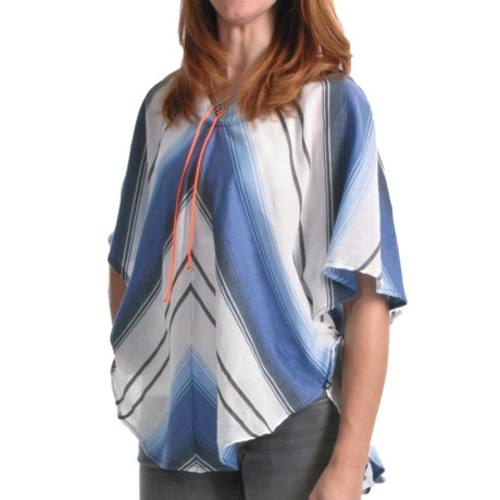 DC Shoes Wheaton Striped Poncho Hooded Shirt - Short Sleeve (For Women) in Blue