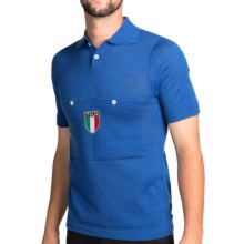 De Marchi Button Collar Cycling Jersey - Short Sleeve (For Men) in Italia Blue - Closeouts