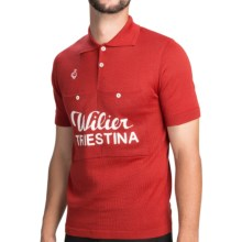 De Marchi Wilier 1951 Cycling Jersey - Button Collar, Short Sleeve (For Men) in Red - Closeouts