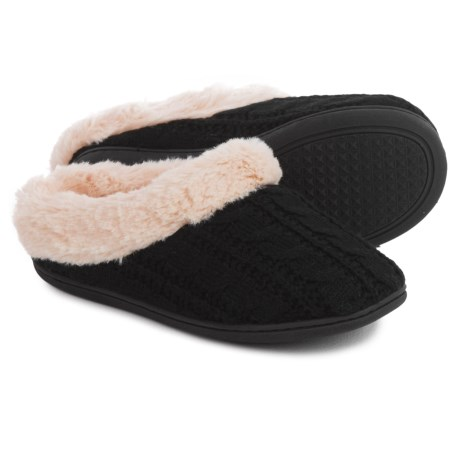 Dearfoams Cable-Knit Clog Slippers - Faux-Fur Lining (For Women) in Black