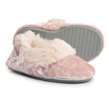 Dearfoams Crushed Velvet Slipper Booties (For Girls) in Chalk Pink