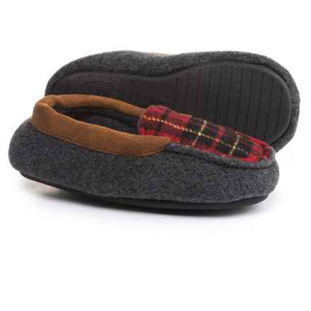 Dearfoams Fleece Slipper Moccasins (For Boys) in Dark Grey - Closeouts