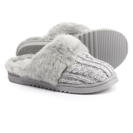 Dearfoams Marled Cable-Knit Scuff Slippers (For Women) in Light Heather Grey
