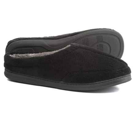 Dearfoams Micro Terry Clog Slippers (For Men) in Black/Grey - Closeouts
