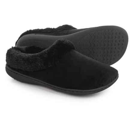 Dearfoams Microfiber Velour Clog Slippers (For Women) in Black - Closeouts