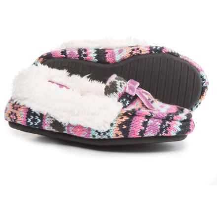 Dearfoams Patterned Sweater-Knit Slippers (For Girls) in Iris - Closeouts