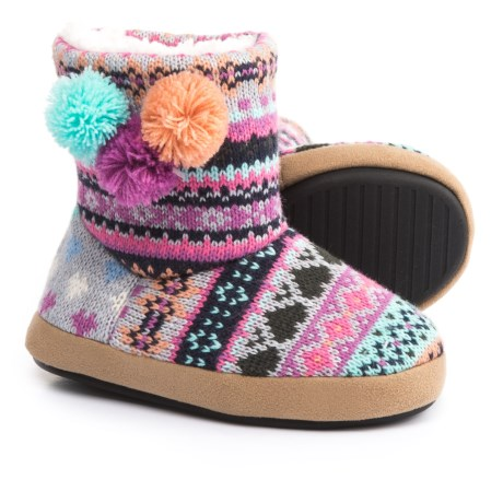 Dearfoams Striped Knit Slipper Boots with Pompoms (For Girls) in Iris