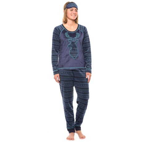 Dearfoams Sueded Microfleece Pajamas - Long Sleeve (For Women) in Navy Fairisle
